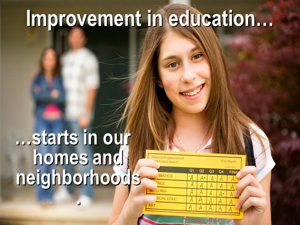 Improvement in education…