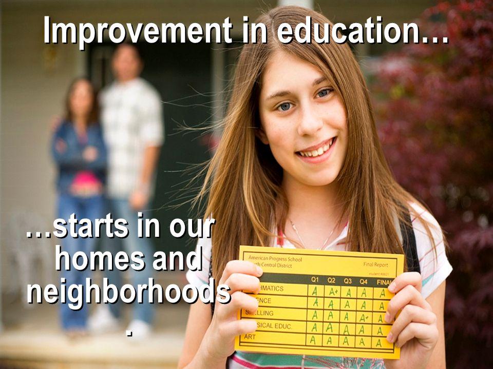 Improvement in education…