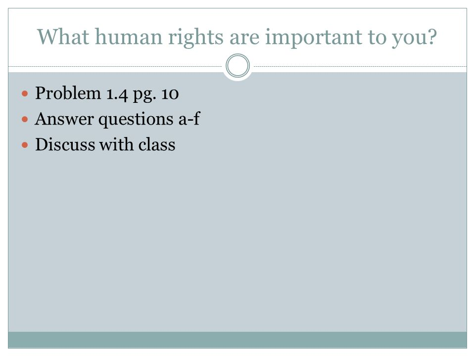 What human rights are important to you