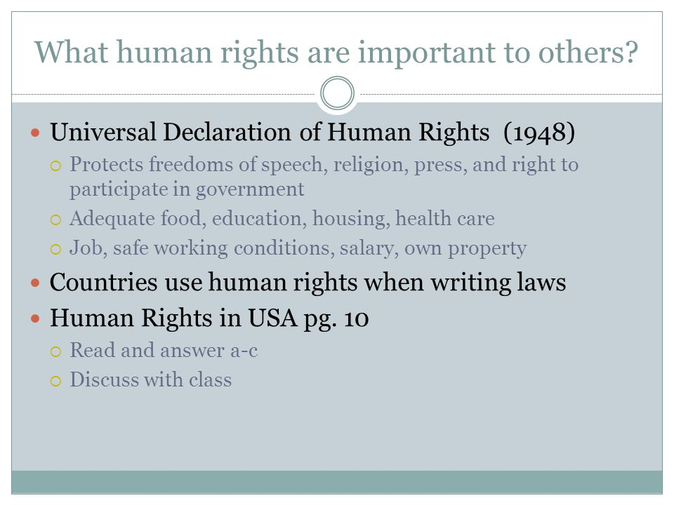 What human rights are important to others