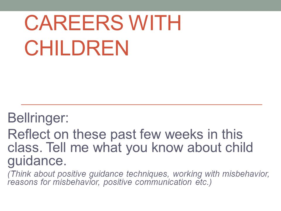 Careers with Children Bellringer:
