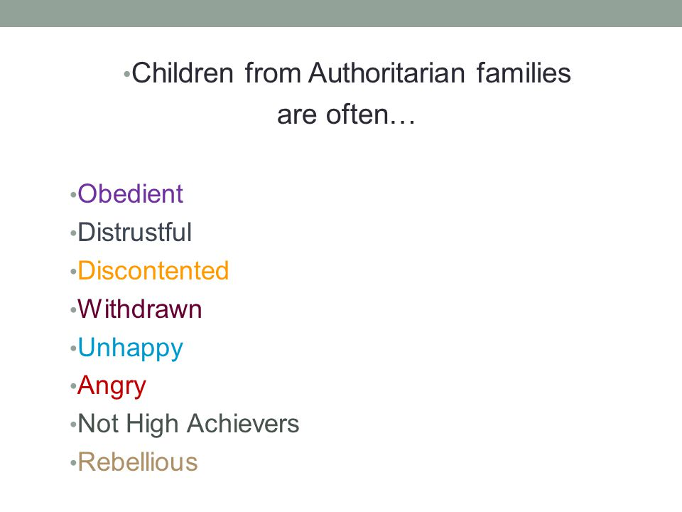 Children from Authoritarian families