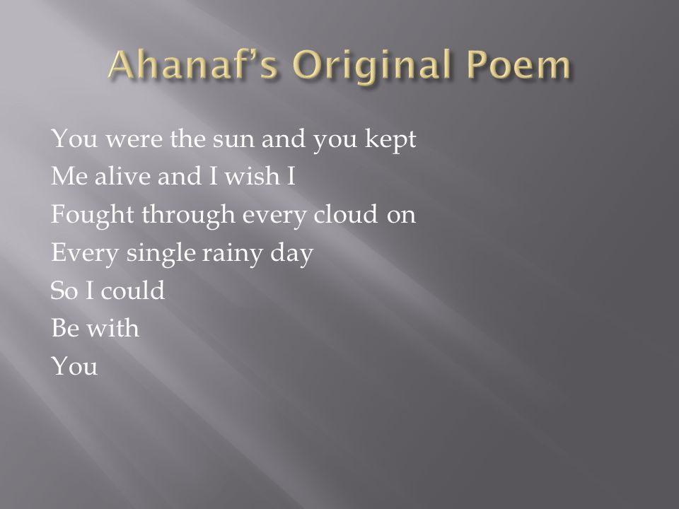 Ahanaf's Original Poem