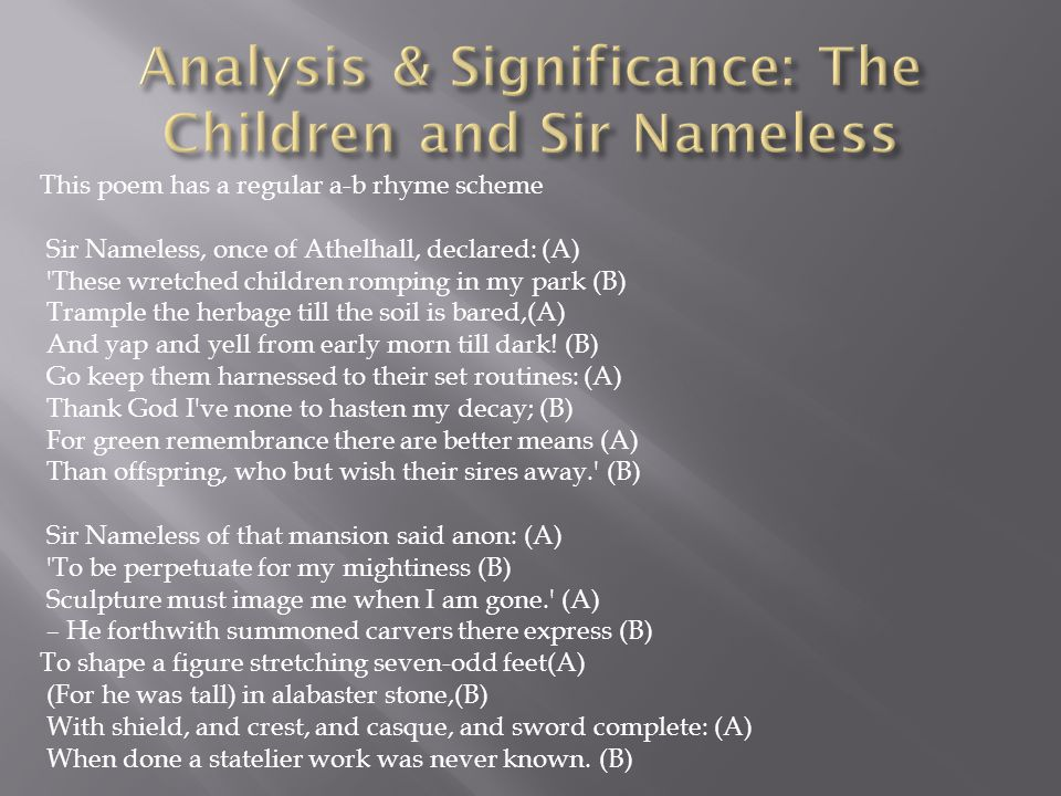 Analysis & Significance: The Children and Sir Nameless