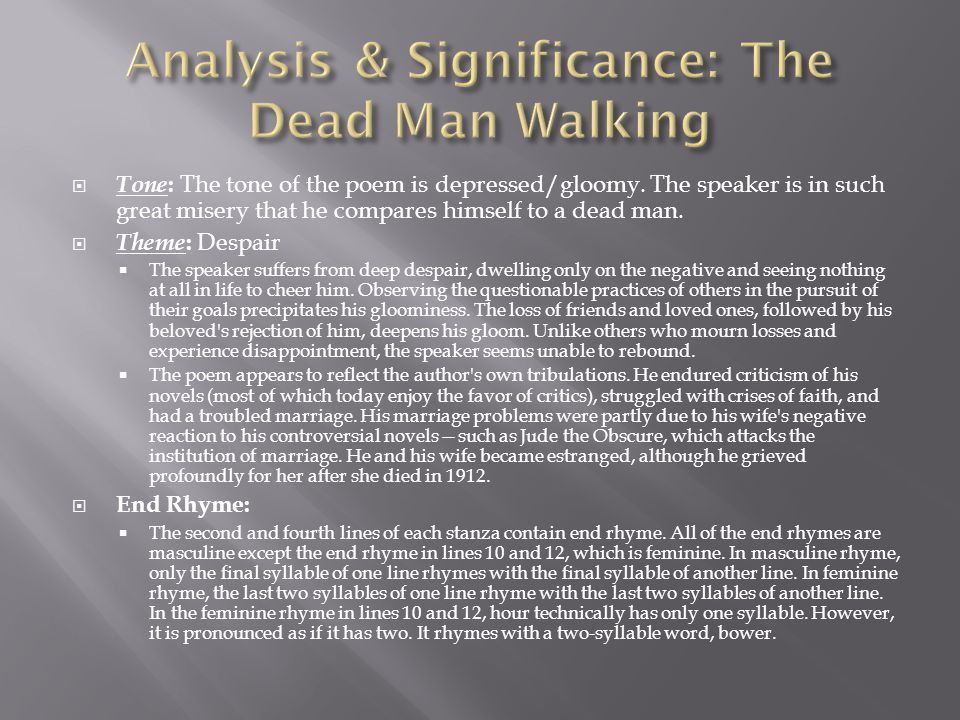 Analysis & Significance: The Dead Man Walking