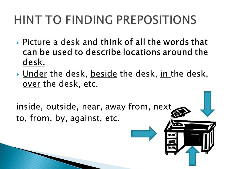 HINT TO FINDING PREPOSITIONS