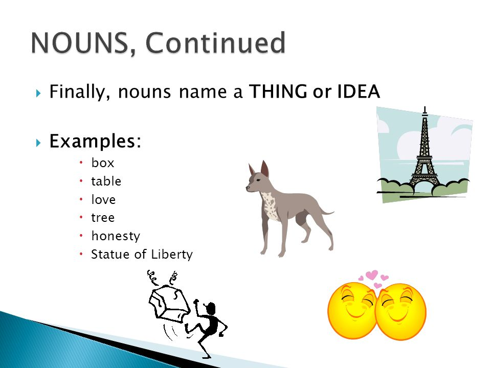 NOUNS, Continued Finally, nouns name a THING or IDEA Examples: box