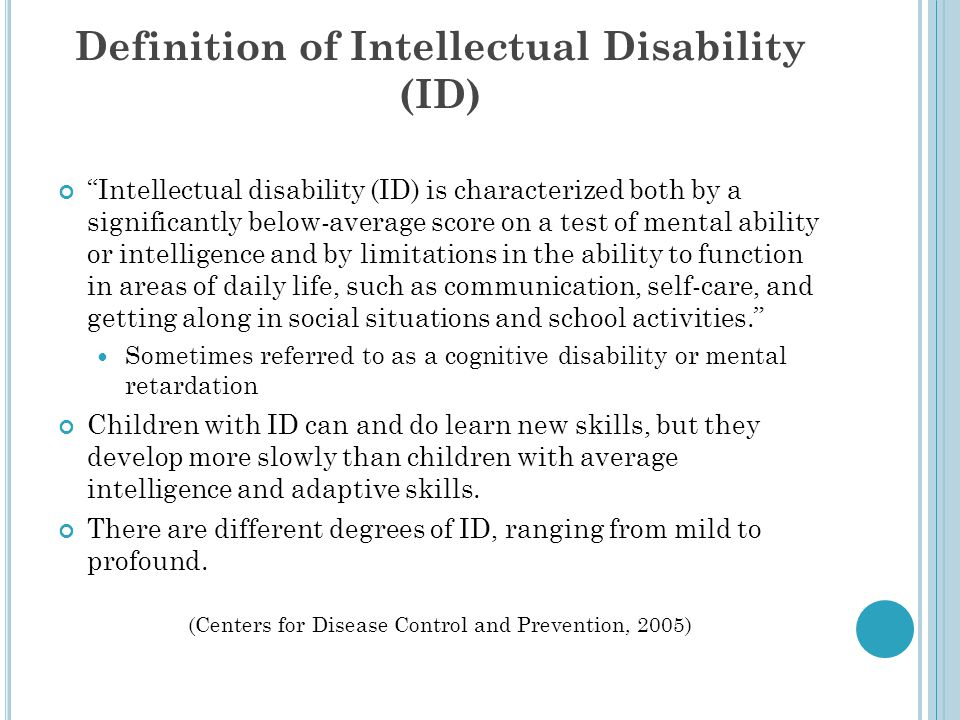 Definition of Intellectual Disability (ID)