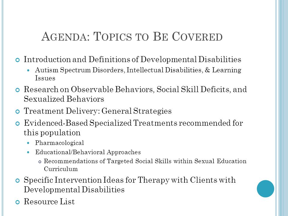 Agenda: Topics to Be Covered