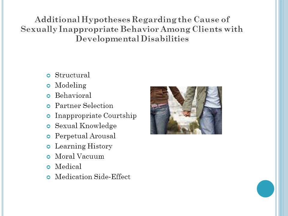 Additional Hypotheses Regarding the Cause of Sexually Inappropriate Behavior Among Clients with Developmental Disabilities
