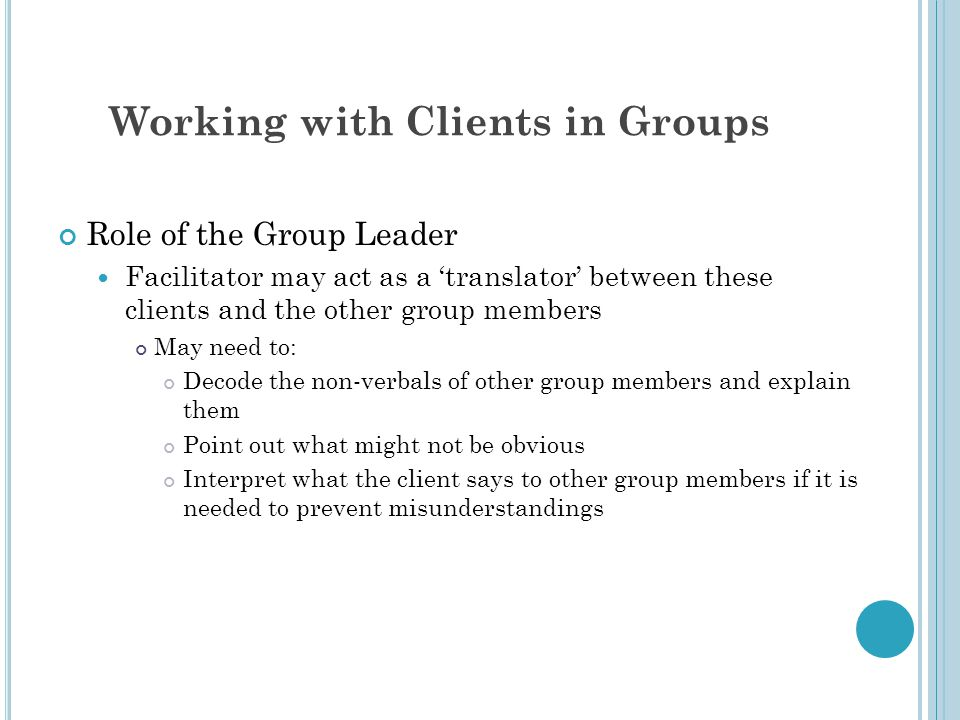 Working with Clients in Groups