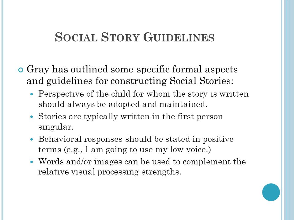 Social Story Guidelines