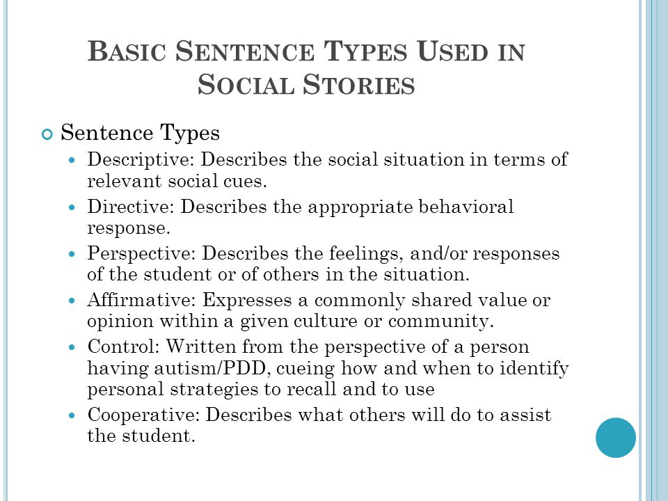 Basic Sentence Types Used in Social Stories