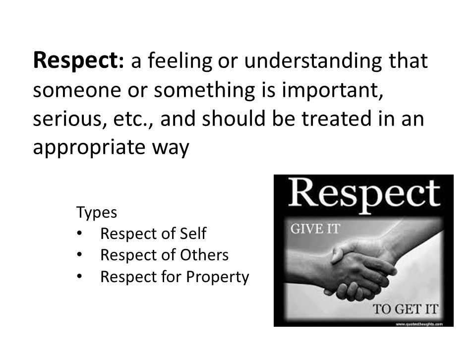 Types Respect of Self Respect of Others Respect for Property