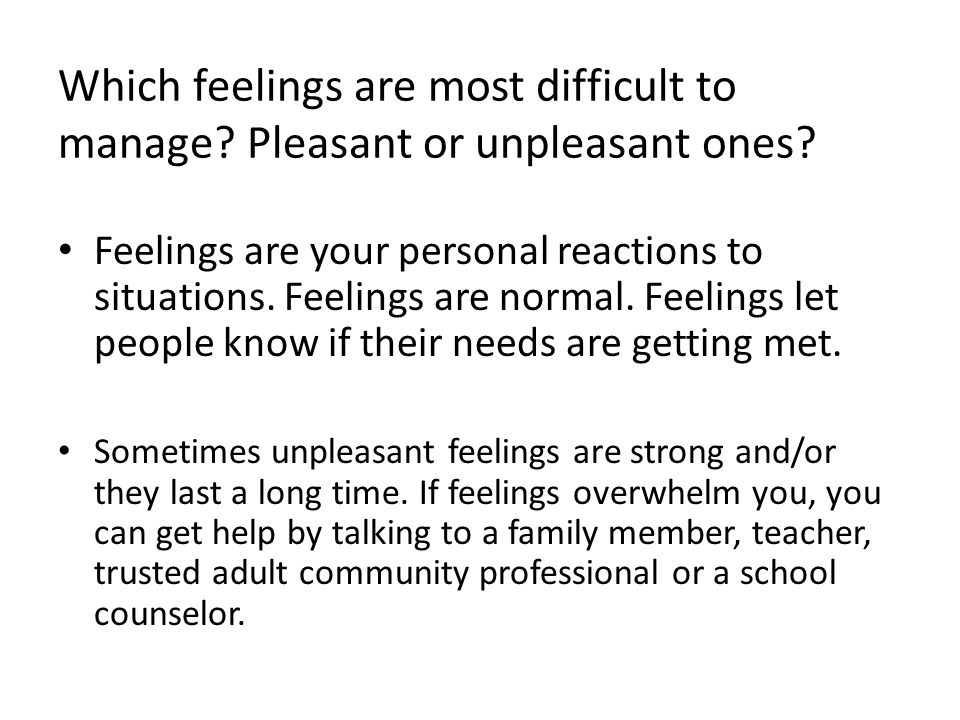 Which feelings are most difficult to manage
