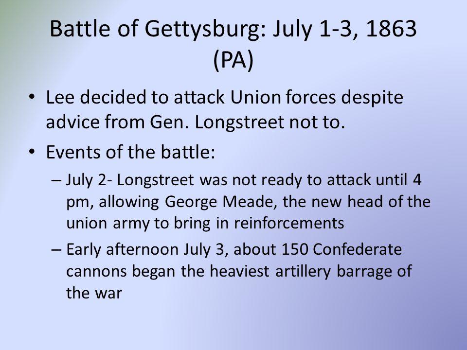 Battle of Gettysburg: July 1-3, 1863 (PA)