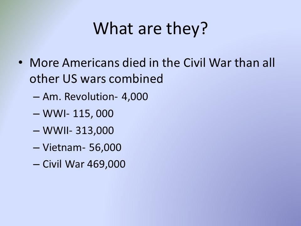 What are they More Americans died in the Civil War than all other US wars combined. Am. Revolution- 4,000.