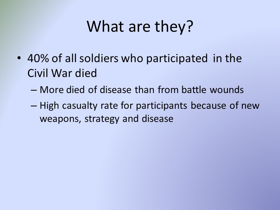 What are they 40% of all soldiers who participated in the Civil War died. More died of disease than from battle wounds.