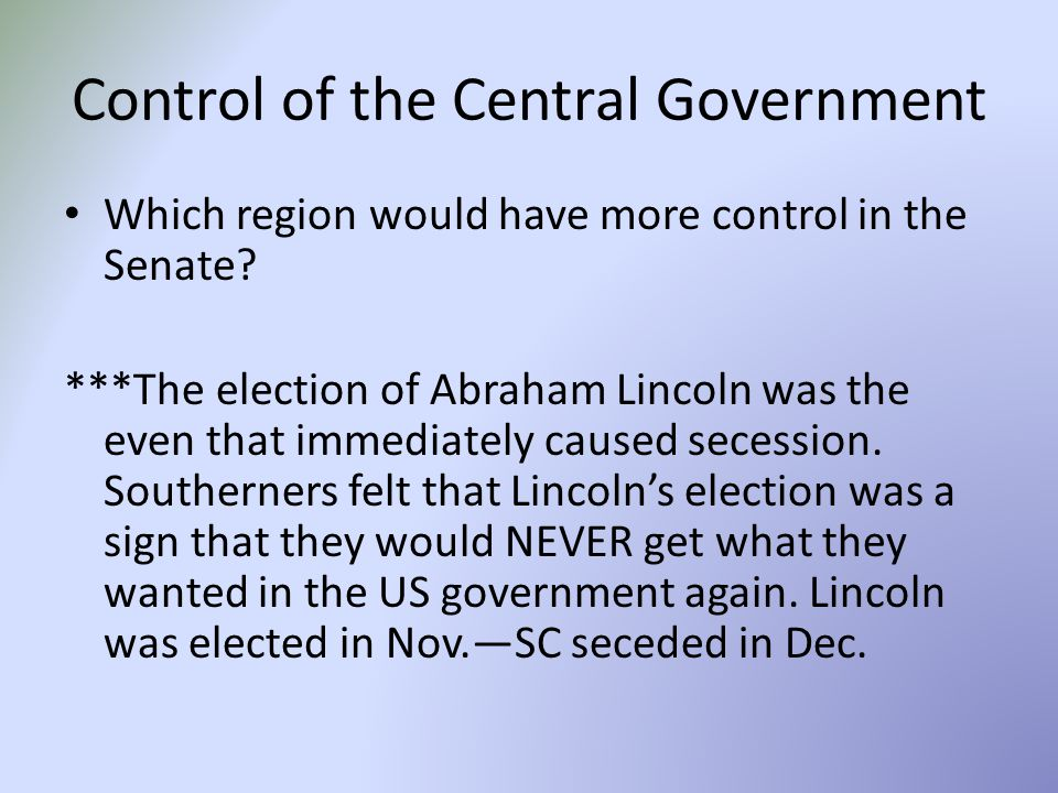 Control of the Central Government