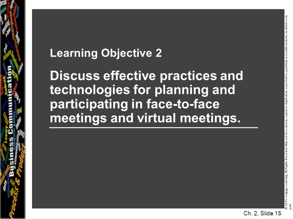 Learning Objective 2 Discuss effective practices and technologies for planning and participating in face-to-face meetings and virtual meetings.