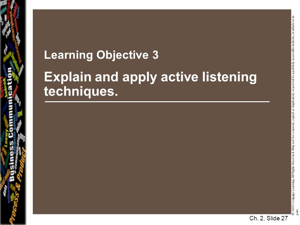 Explain and apply active listening techniques.