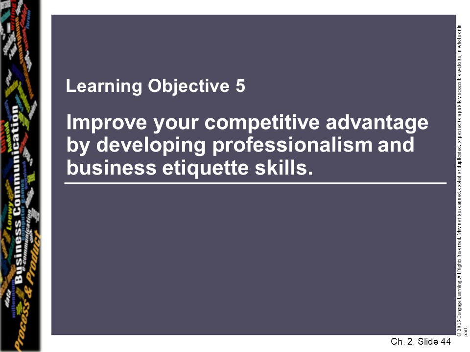 Learning Objective 5 Improve your competitive advantage by developing professionalism and business etiquette skills.