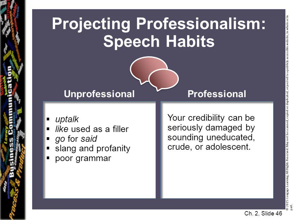 Projecting Professionalism: Speech Habits