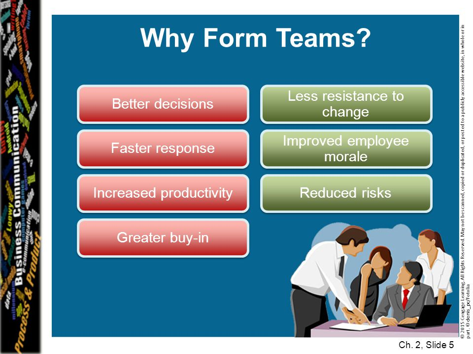 Why Form Teams Better decisions Less resistance to change