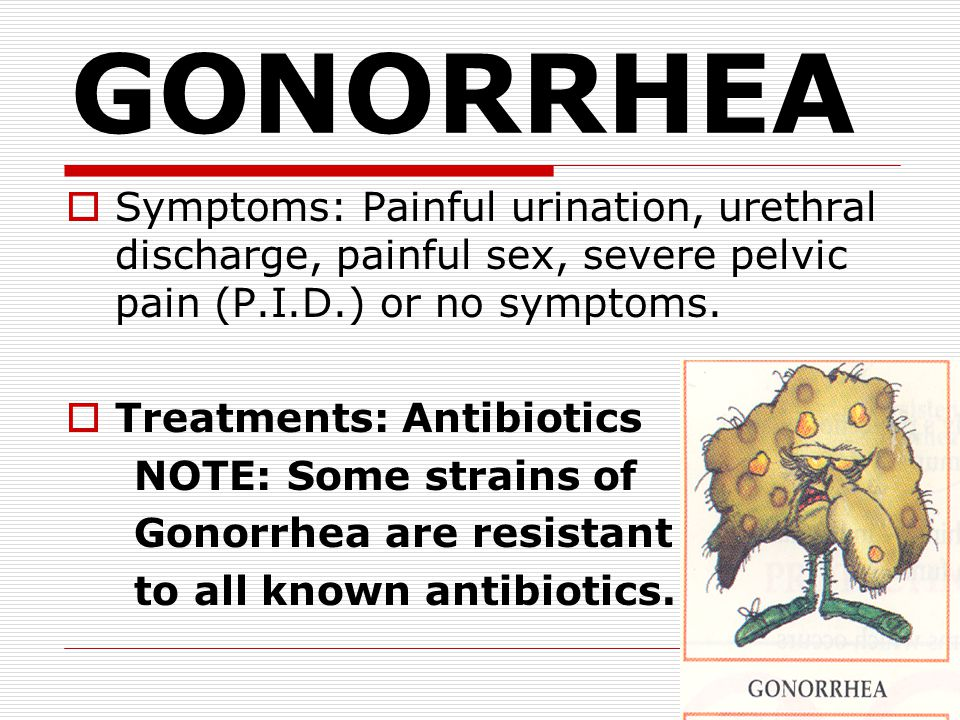GONORRHEA Symptoms: Painful urination, urethral discharge, painful sex, severe pelvic pain (P.I.D.) or no symptoms.