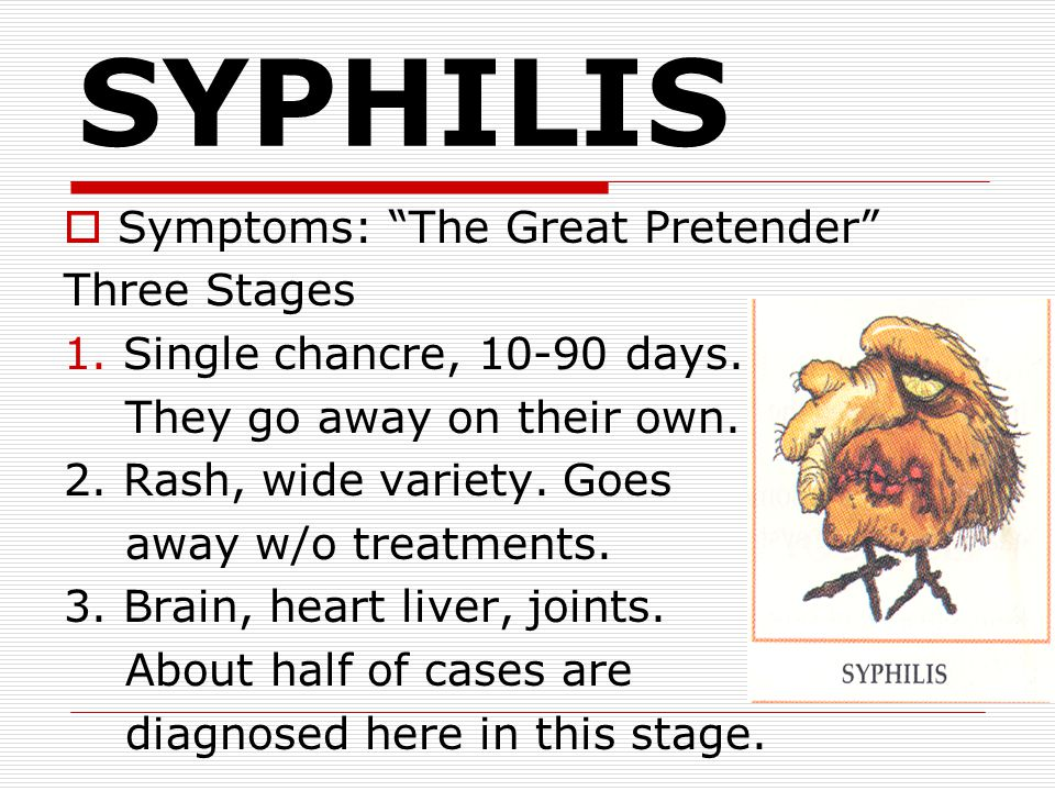 SYPHILIS Symptoms: The Great Pretender Three Stages