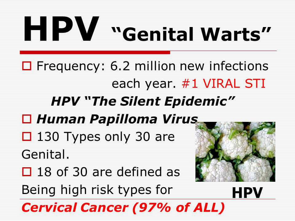 HPV Genital Warts HPV Frequency: 6.2 million new infections