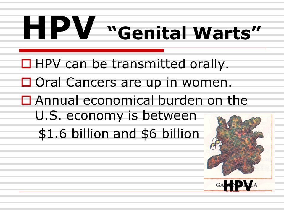 HPV Genital Warts HPV HPV can be transmitted orally.