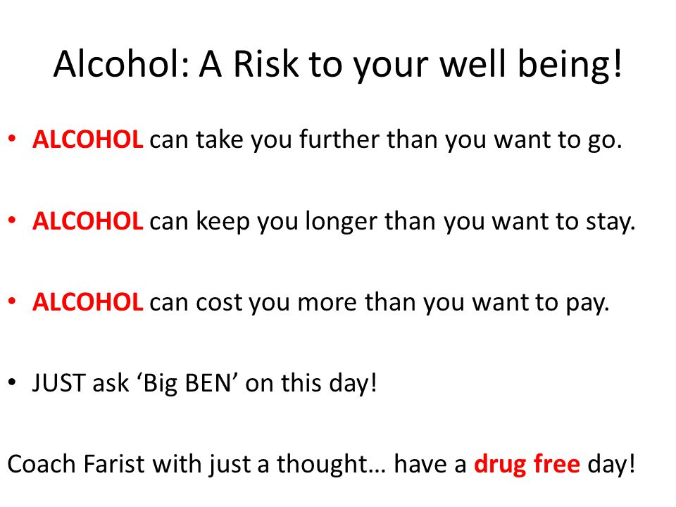 Alcohol: A Risk to your well being!
