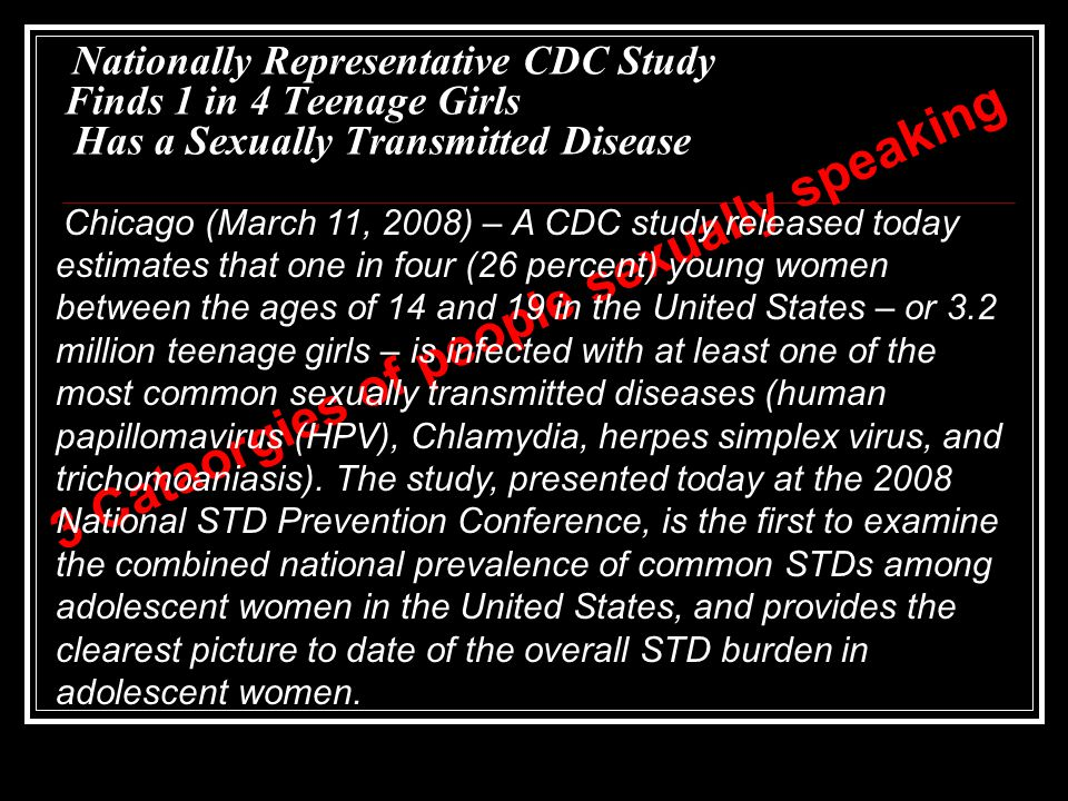 Nationally Representative CDC Study Finds 1 in 4 Teenage Girls Has a Sexually Transmitted Disease