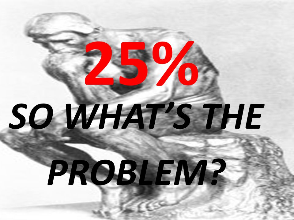 25% SO WHAT'S THE. PROBLEM. Why listen. Why consider.