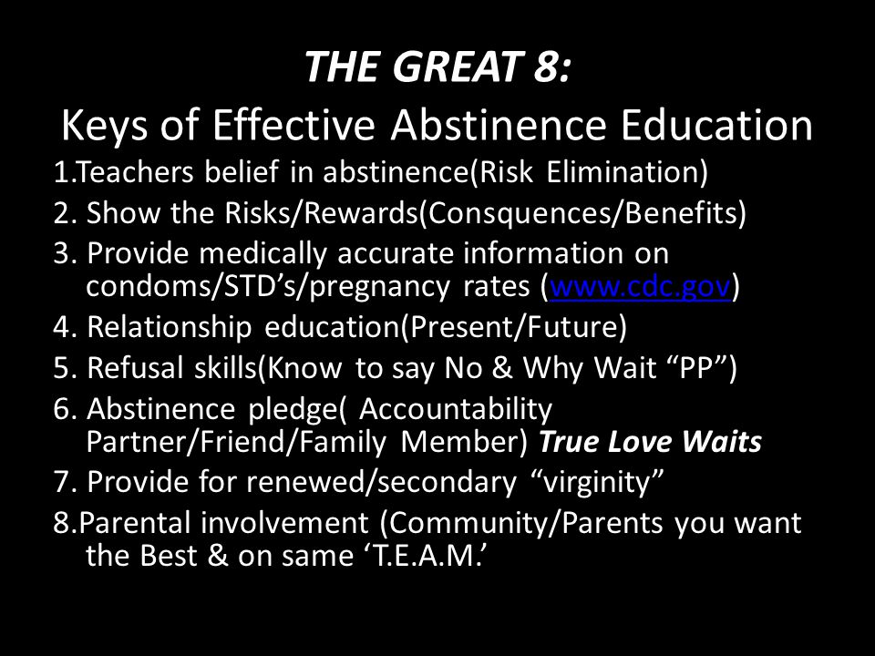 THE GREAT 8: Keys of Effective Abstinence Education