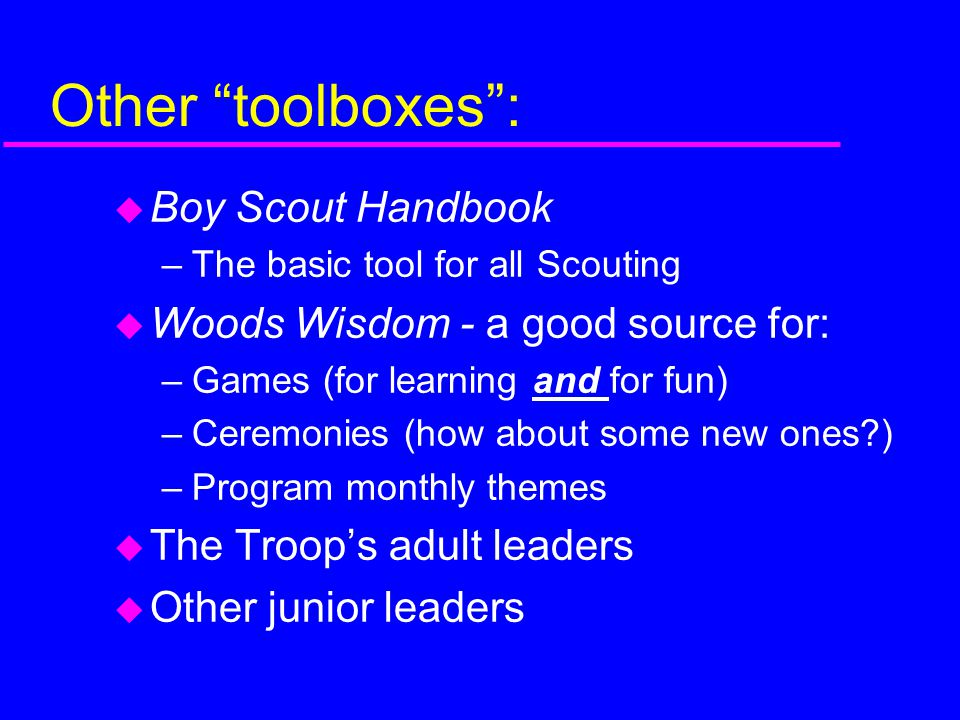 Other toolboxes : Boy Scout Handbook