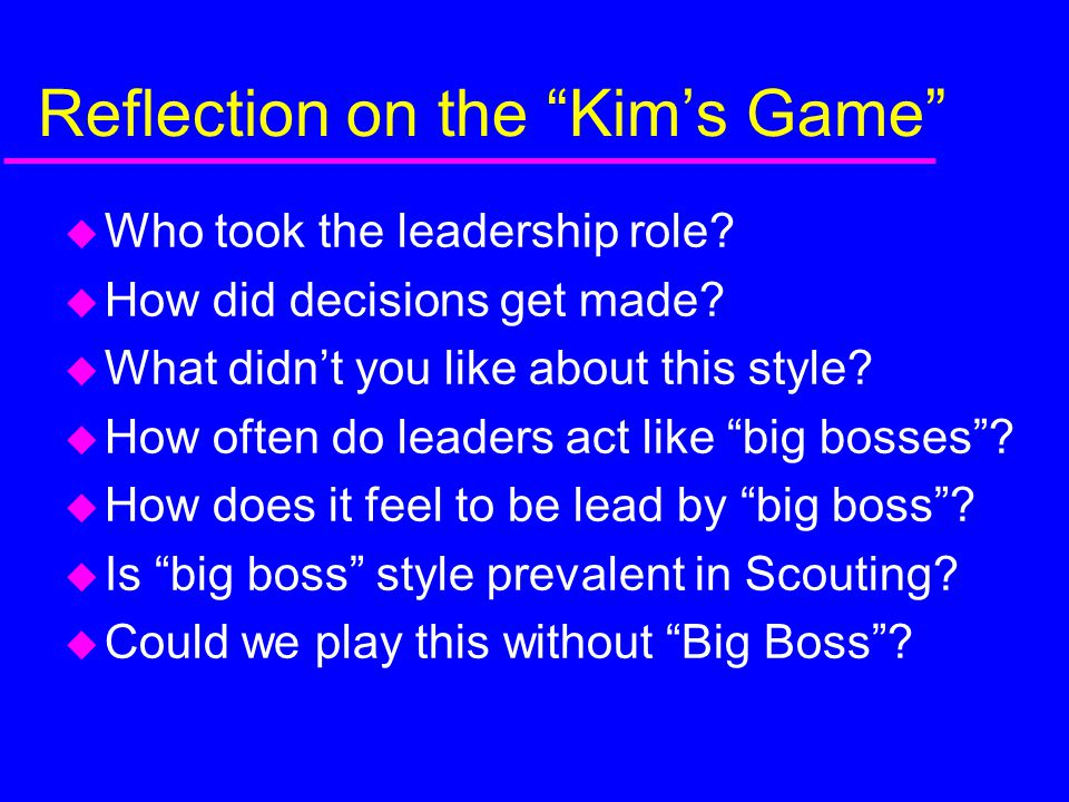 Reflection on the Kim's Game