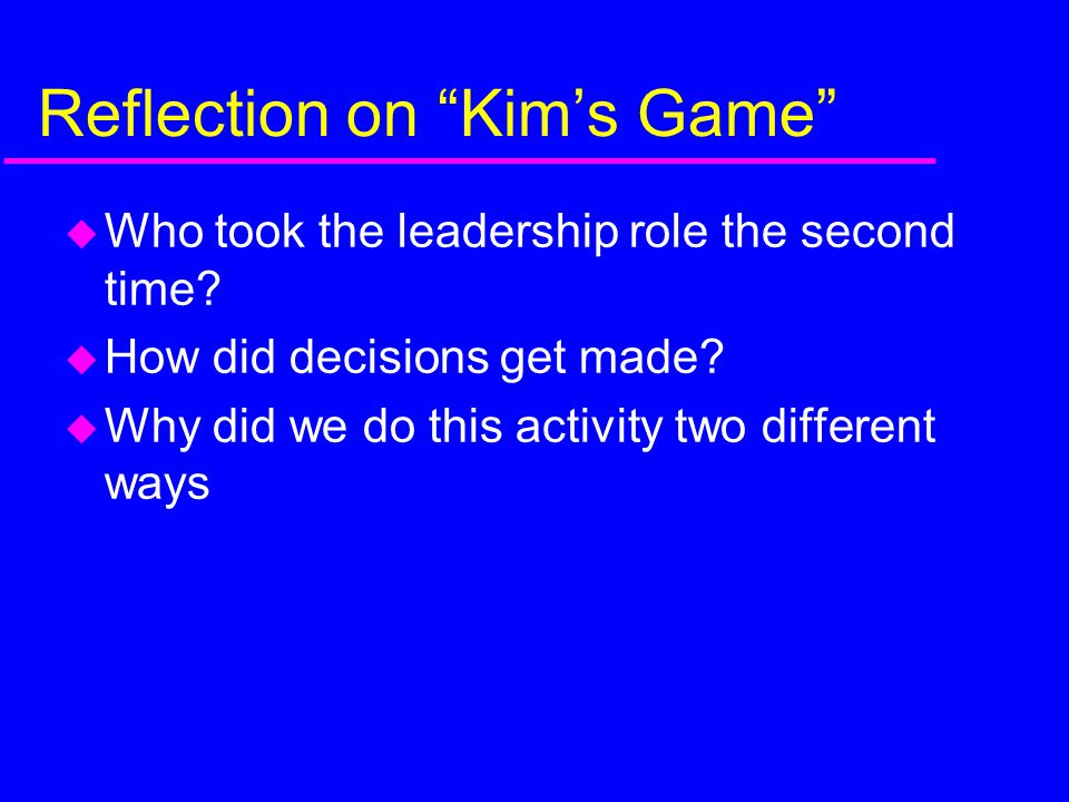 Reflection on Kim's Game