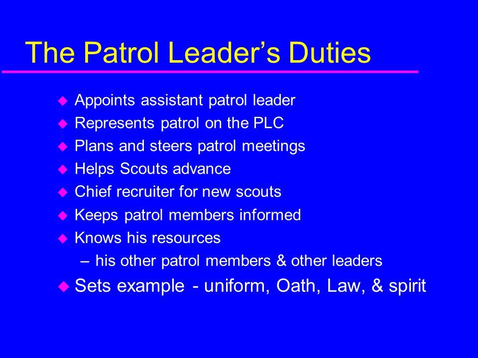 The Patrol Leader's Duties