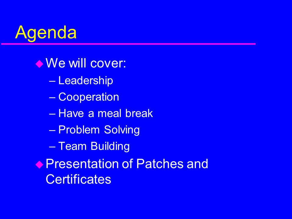 Agenda We will cover: Presentation of Patches and Certificates