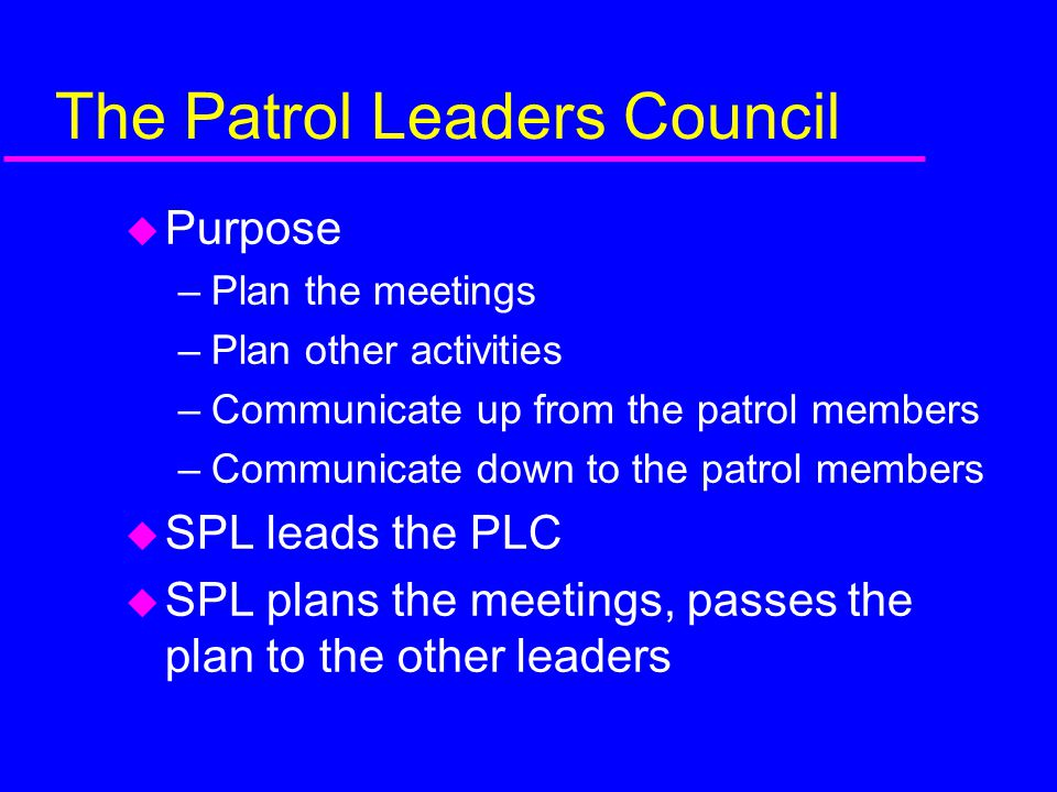 The Patrol Leaders Council