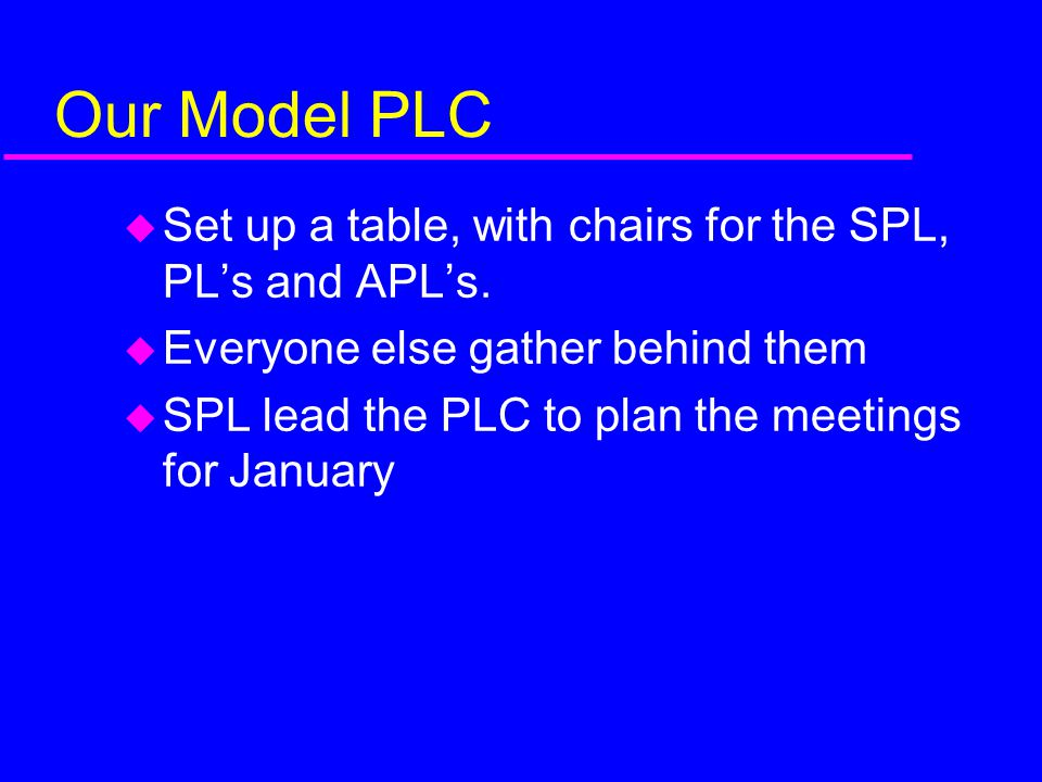 Our Model PLC Set up a table, with chairs for the SPL, PL's and APL's.