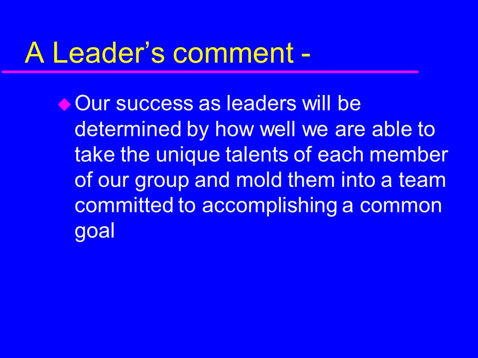 A Leader's comment -