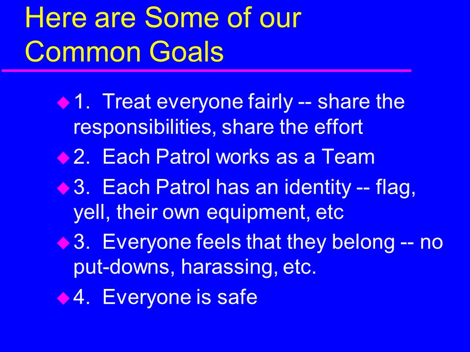 Here are Some of our Common Goals