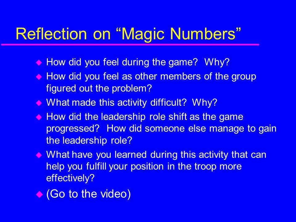 Reflection on Magic Numbers