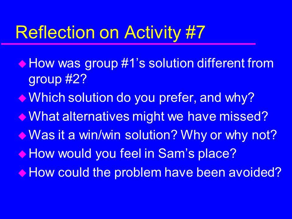 Reflection on Activity #7