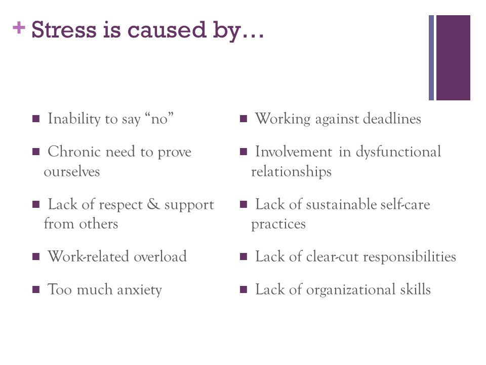 Stress is caused by… Inability to say no