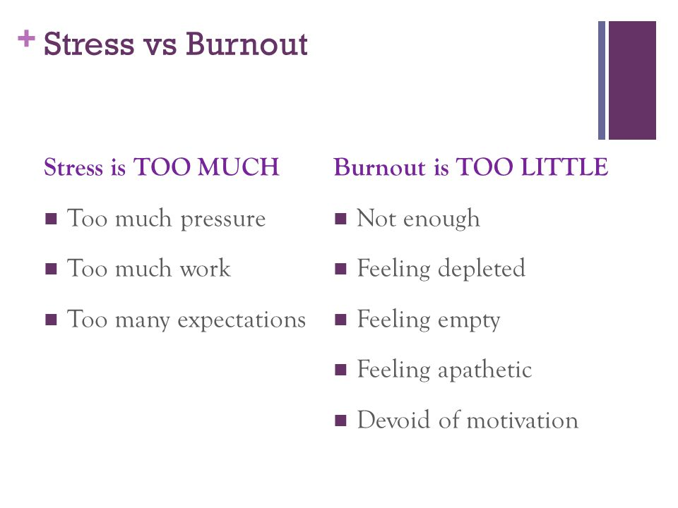 Stress vs Burnout Stress is TOO MUCH Too much pressure Too much work