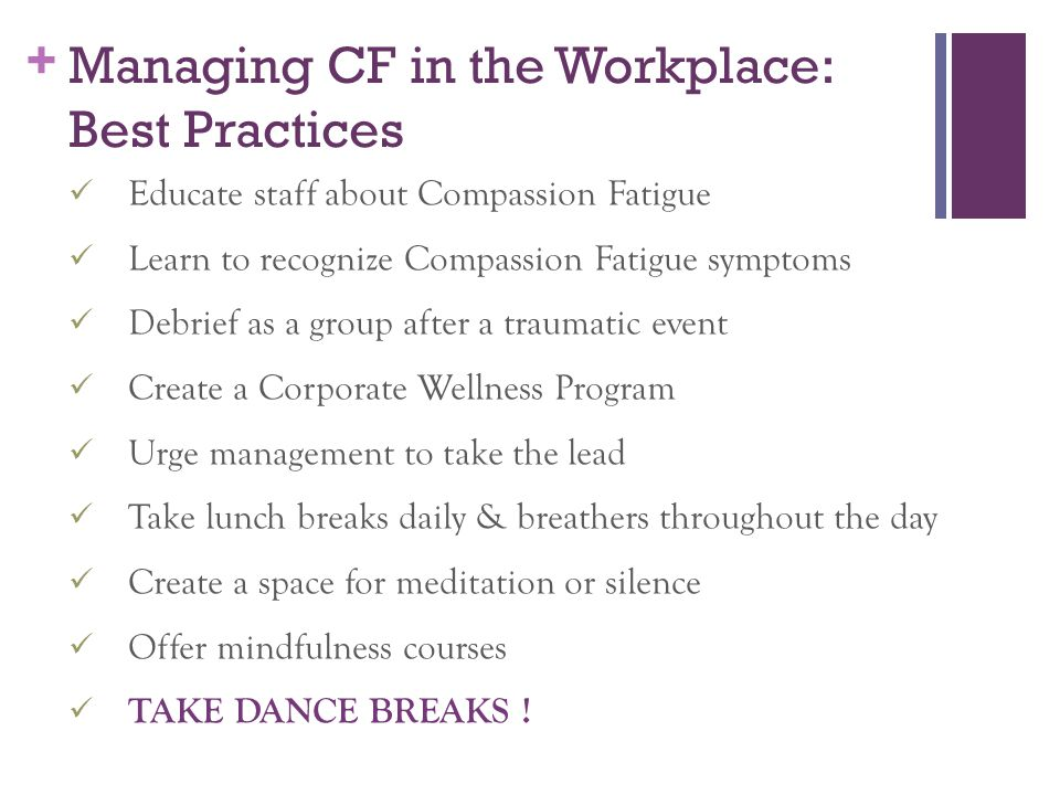 Managing CF in the Workplace: Best Practices